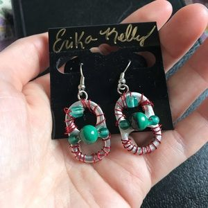 Upcycled Holiday Bottle Top Earrings Green Red